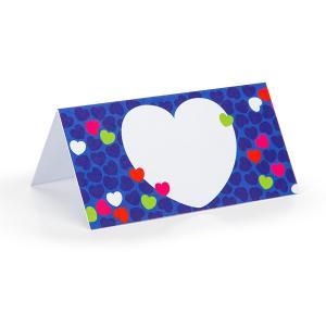 Tafelkaartje hartjes blauw