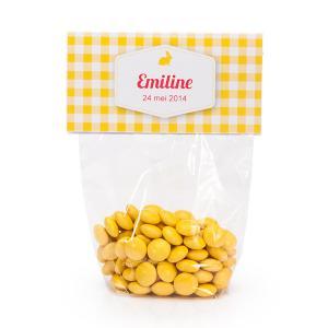 Snoeplabel vichy geel