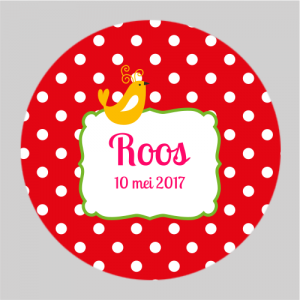 Sticker rond 40mm polkadots rood