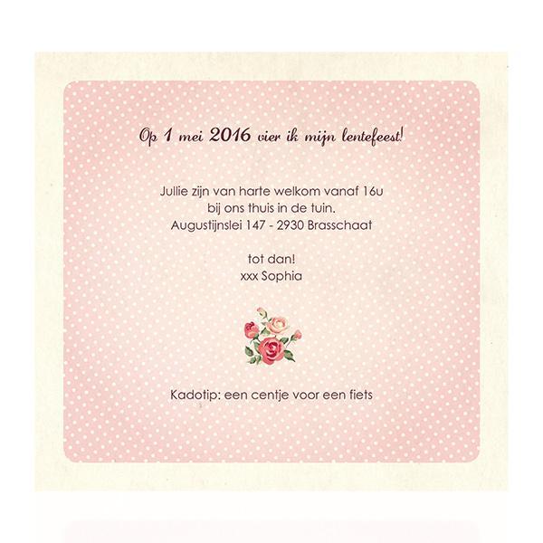 Uitnodiging retro roosjes
