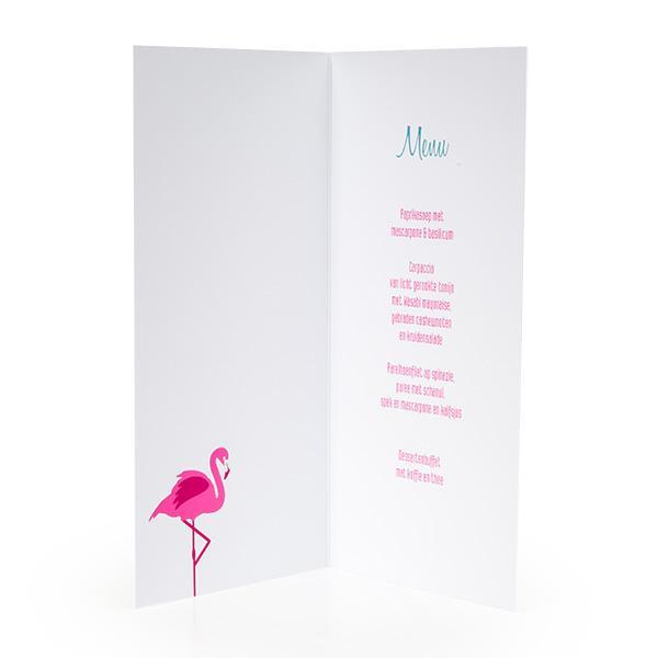 Menukaart flamingo