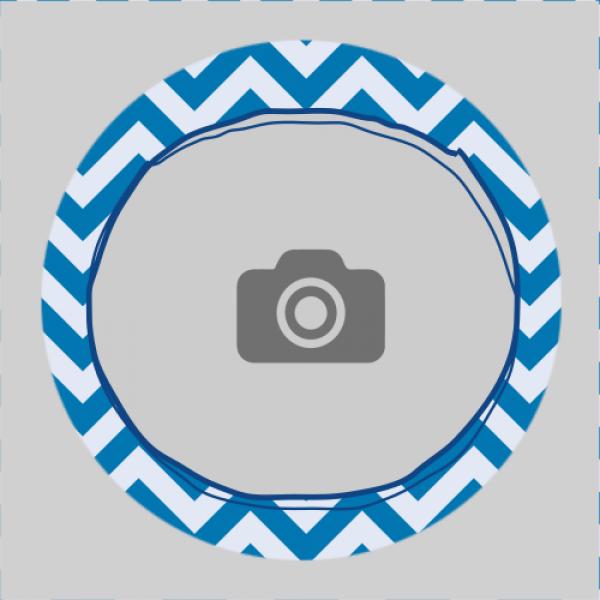 Sticker rond 40mm visgraat blauw